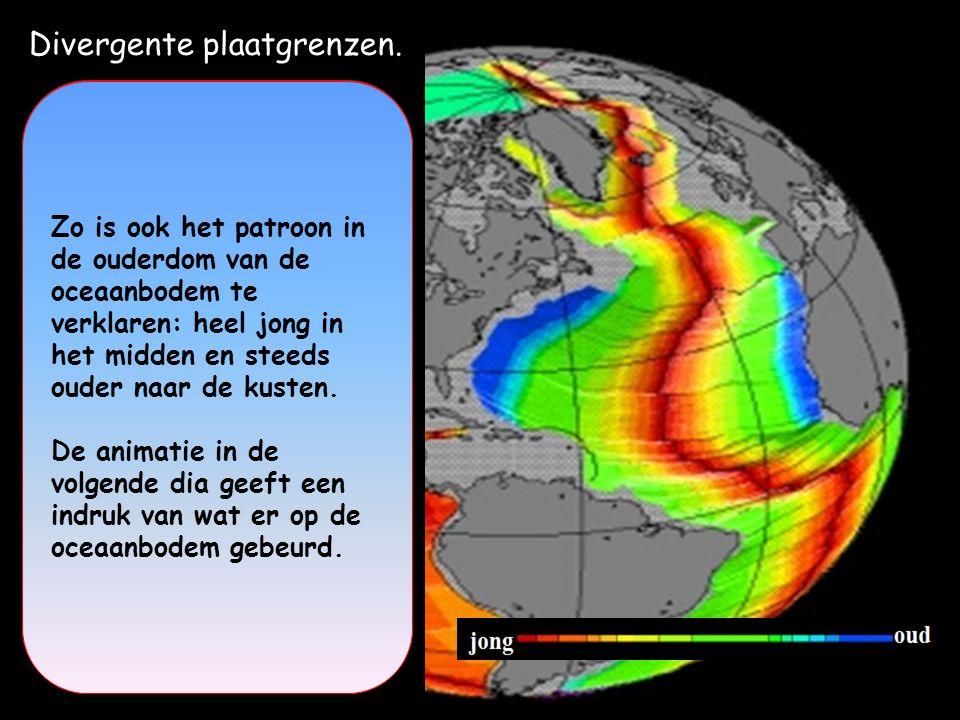 Divergente plaatgrenzen. 1-Mid-oceanische rug = Onderzees gebergte waar de oceanische korst door opstijgend magma omhoog wordt gedrukt. Hier ontstaat