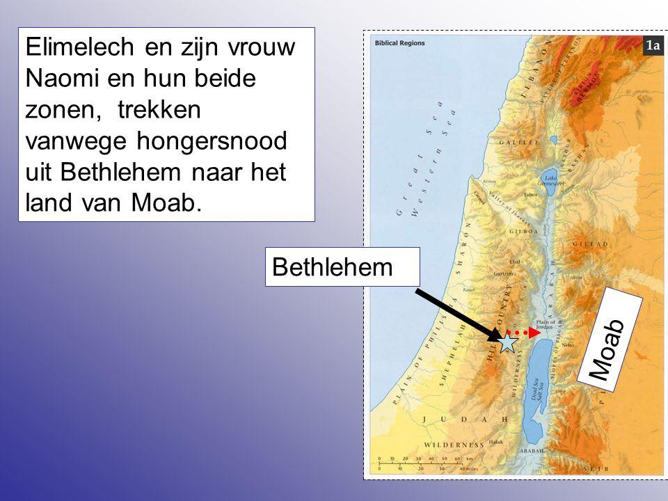 3 Elimelech en zijn vrouw Naomi en hun beide zonen, trekken vanwege hongersnood uit Bethlehem naar het land van Moab. Bethlehem Moab