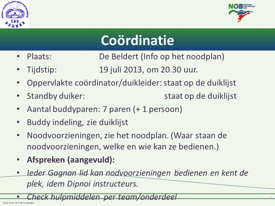 Rob Kool & Frans Jansen Coördinatie Plaats:De Beldert (Info op het noodplan) Tijdstip:19 juli 2013, om 20.30 uur. Oppervlakte coördinator/duikleider:
