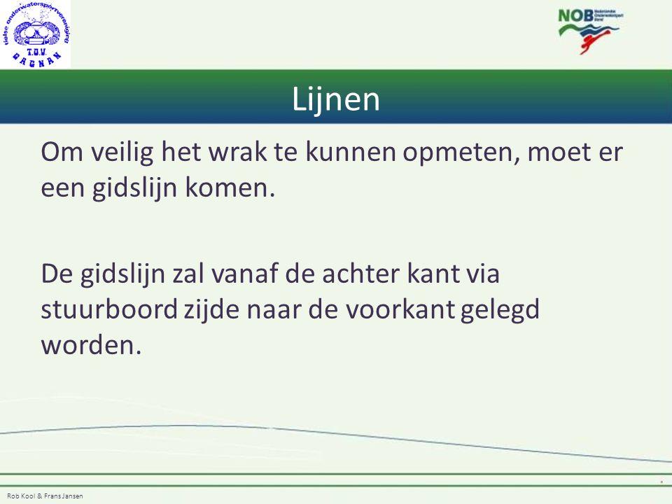 Rob Kool & Frans Jansen Lijnen Om veilig het wrak te kunnen opmeten, moet er een gidslijn komen. De gidslijn zal vanaf de achter kant via stuurboord z