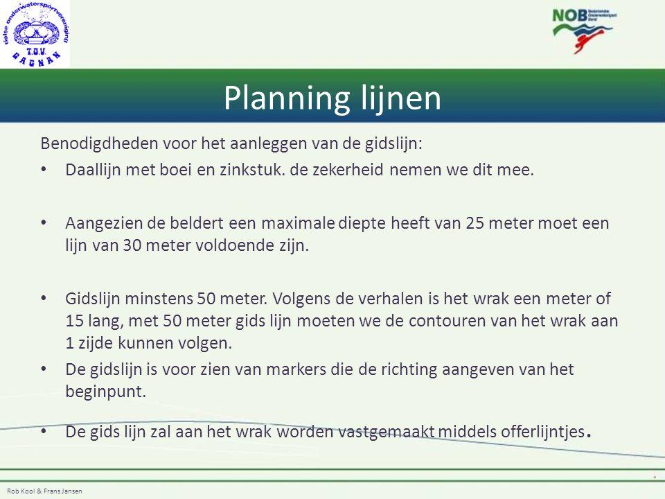 Rob Kool & Frans Jansen Planning lijnen Benodigdheden voor het aanleggen van de gidslijn: Daallijn met boei en zinkstuk. de zekerheid nemen we dit mee