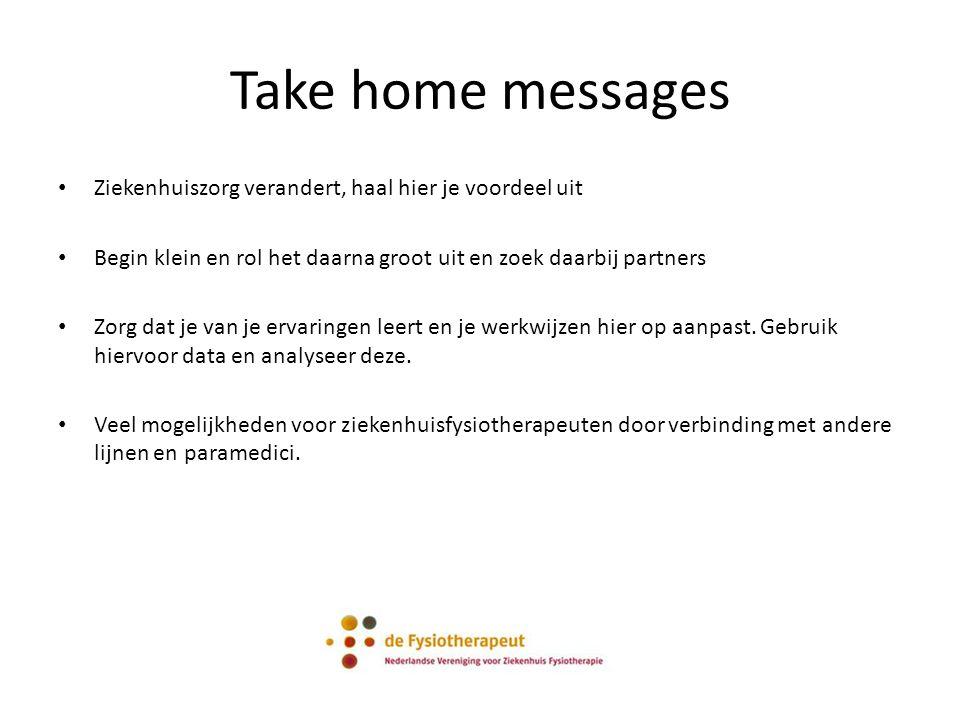Take home messages Ziekenhuiszorg verandert, haal hier je voordeel uit Begin klein en rol het daarna groot uit en zoek daarbij partners Zorg dat je van je ervaringen leert en je werkwijzen hier op aanpast.