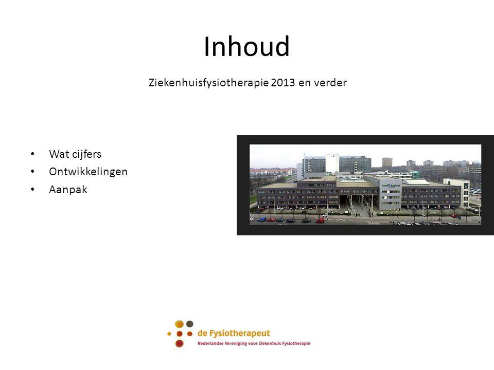 Inhoud Ziekenhuisfysiotherapie 2013 en verder Wat cijfers Ontwikkelingen Aanpak