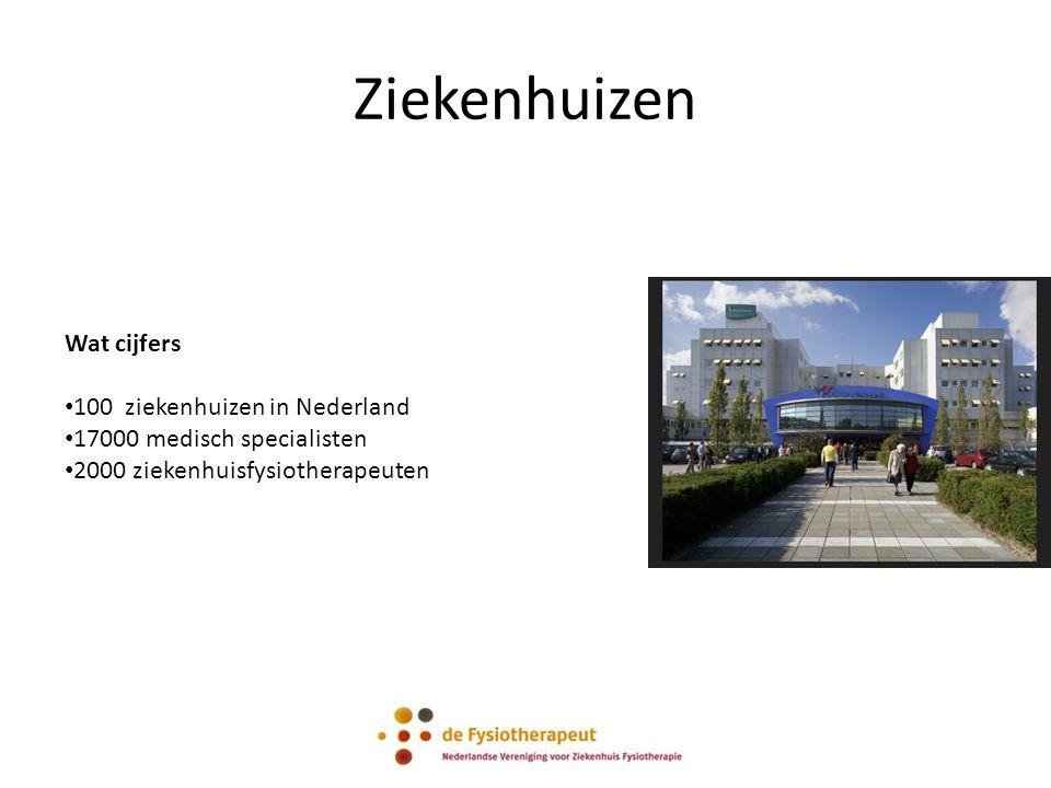 Ziekenhuizen Wat cijfers 100 ziekenhuizen in Nederland 17000 medisch specialisten 2000 ziekenhuisfysiotherapeuten