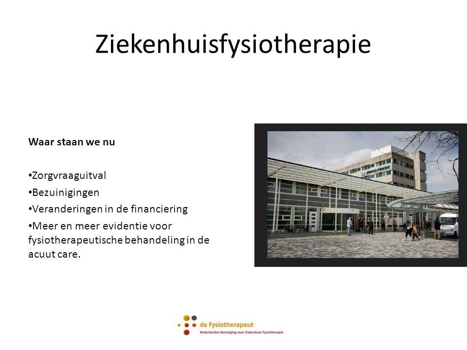 Ziekenhuisfysiotherapie Waar staan we nu Zorgvraaguitval Bezuinigingen Veranderingen in de financiering Meer en meer evidentie voor fysiotherapeutische behandeling in de acuut care.