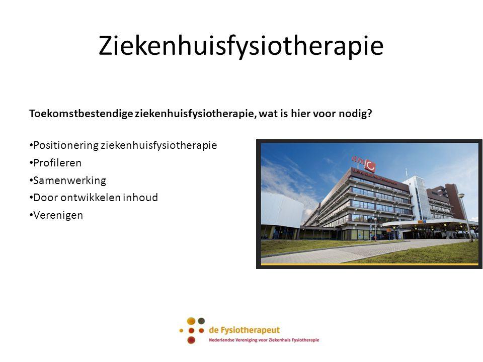 Ziekenhuisfysiotherapie Toekomstbestendige ziekenhuisfysiotherapie, wat is hier voor nodig? Positionering ziekenhuisfysiotherapie Profileren Samenwerk