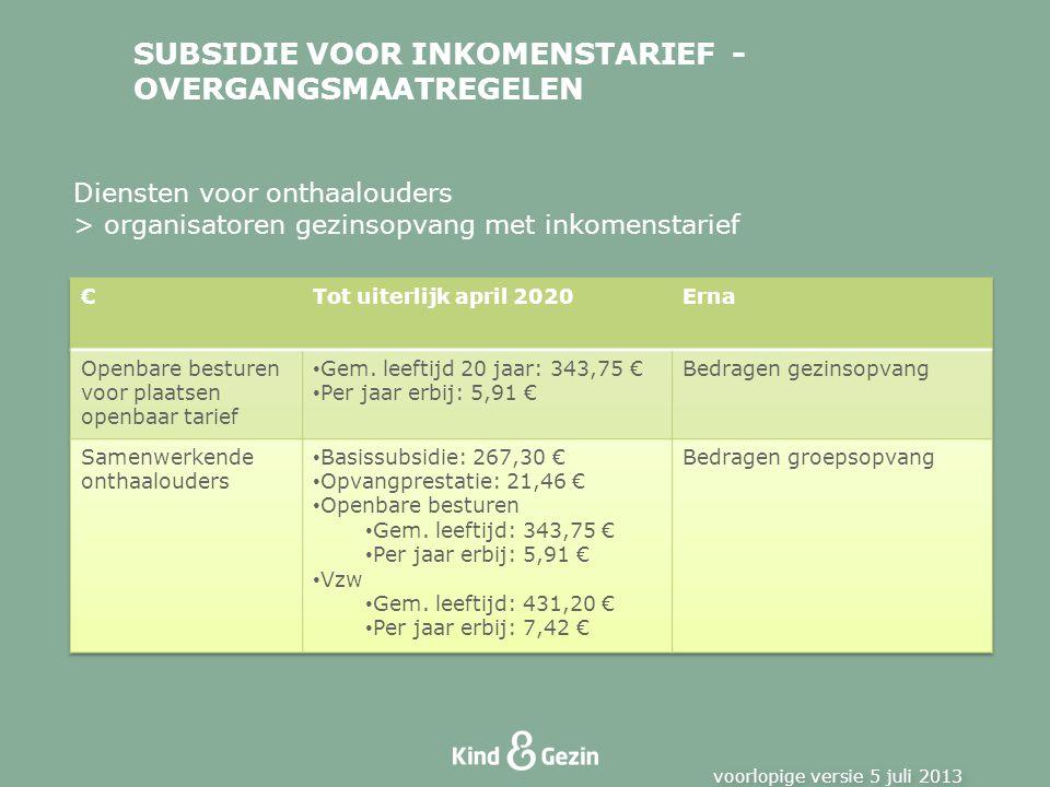 SUBSIDIE VOOR INKOMENSTARIEF - OVERGANGSMAATREGELEN voorlopige versie 5 juli 2013 Diensten voor onthaalouders > organisatoren gezinsopvang met inkomenstarief