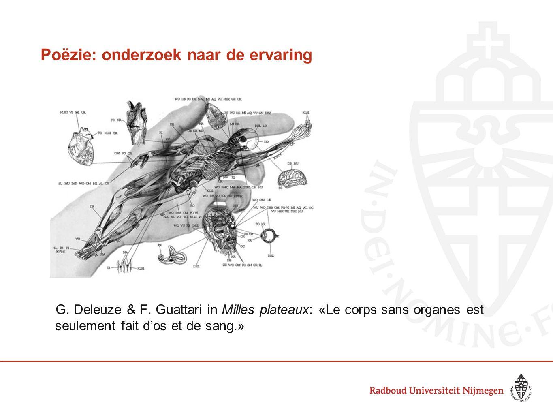 Poëzie: onderzoek naar de ervaring G. Deleuze & F. Guattari in Milles plateaux: «Le corps sans organes est seulement fait d'os et de sang.»