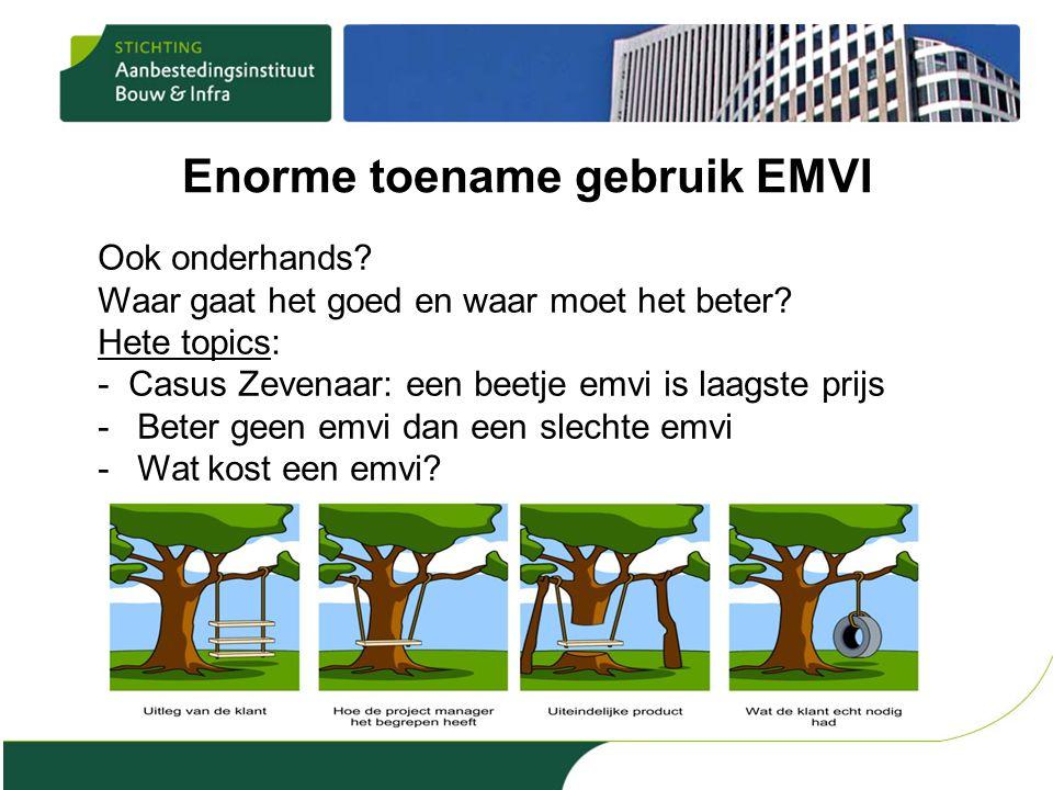 Enorme toename gebruik EMVI Ook onderhands? Waar gaat het goed en waar moet het beter? Hete topics: - Casus Zevenaar: een beetje emvi is laagste prijs
