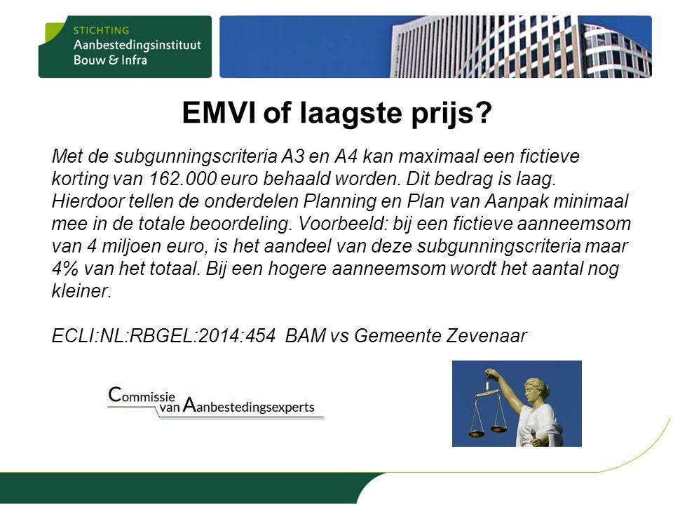 EMVI of laagste prijs? Met de subgunningscriteria A3 en A4 kan maximaal een fictieve korting van 162.000 euro behaald worden. Dit bedrag is laag. Hier