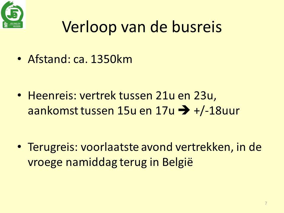 Verloop van de busreis Afstand: ca.