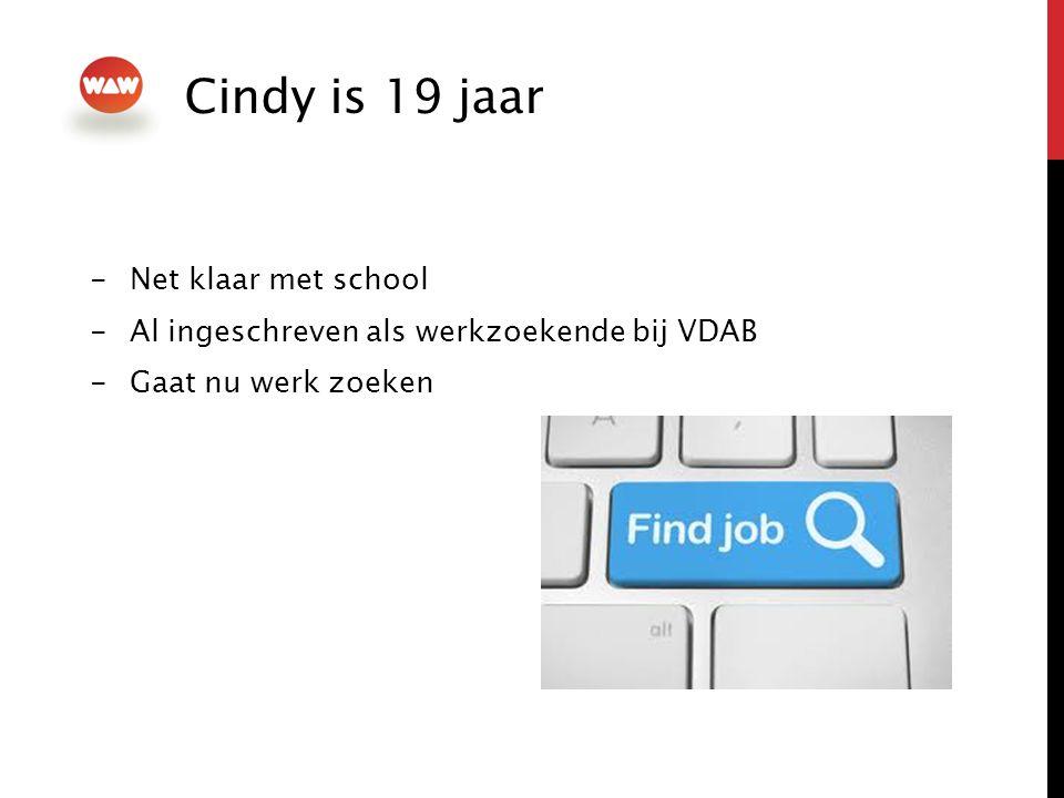 -Net klaar met school -Al ingeschreven als werkzoekende bij VDAB -Gaat nu werk zoeken Cindy is 19 jaar