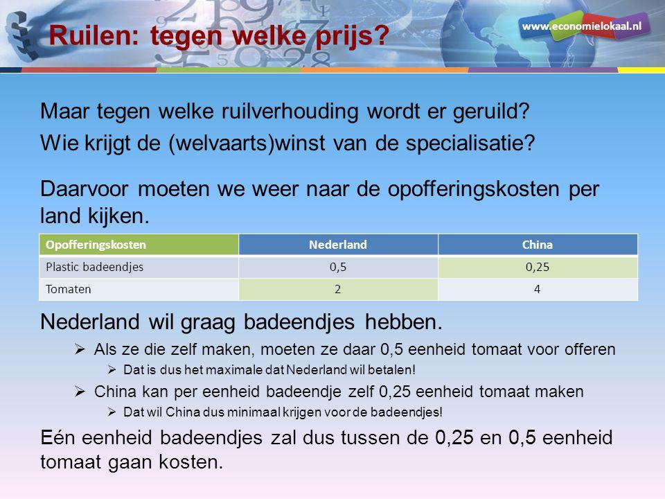 www.economielokaal.nl Ruilen: tegen welke prijs? Maar tegen welke ruilverhouding wordt er geruild? Wie krijgt de (welvaarts)winst van de specialisatie