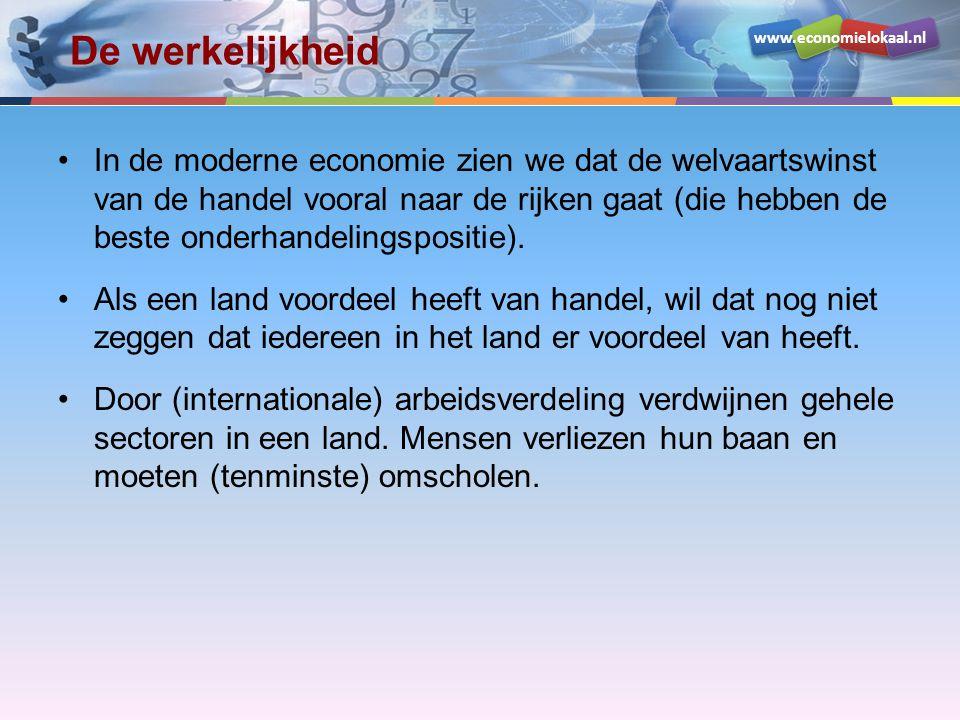 www.economielokaal.nl De werkelijkheid In de moderne economie zien we dat de welvaartswinst van de handel vooral naar de rijken gaat (die hebben de beste onderhandelingspositie).