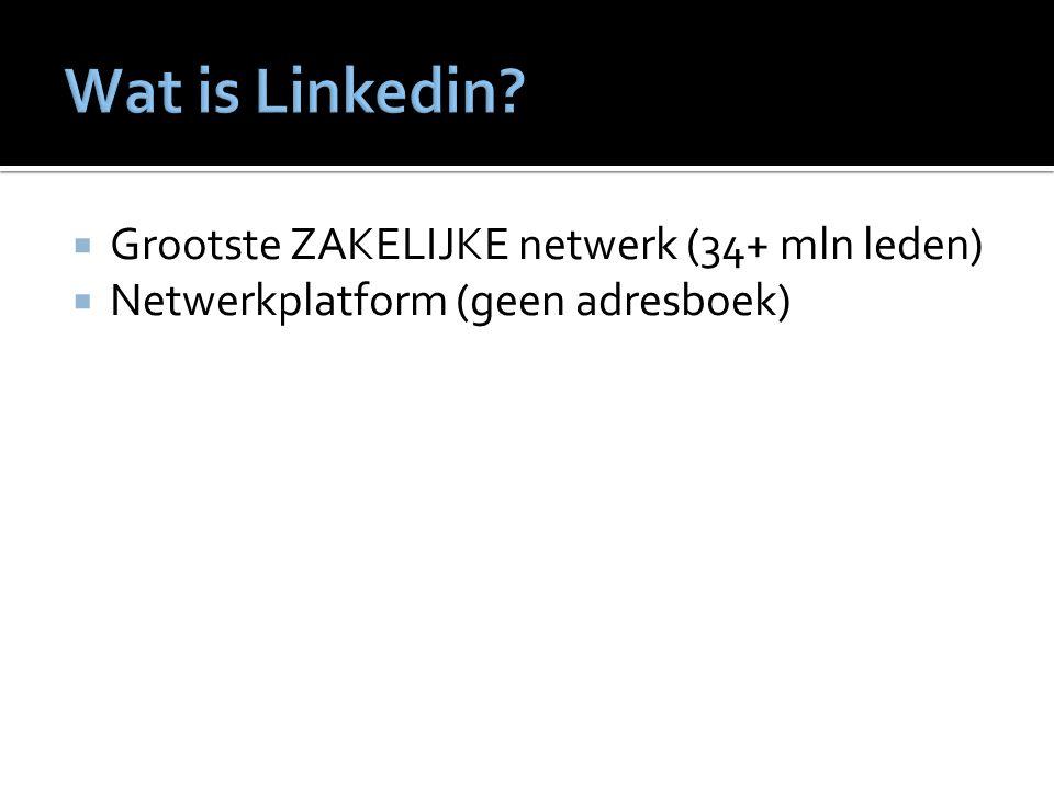 Grootste ZAKELIJKE netwerk (34+ mln leden)  Netwerkplatform (geen adresboek)