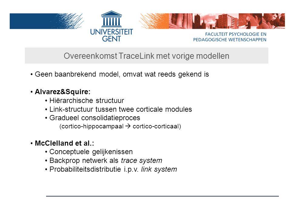 Overeenkomst TraceLink met vorige modellen Geen baanbrekend model, omvat wat reeds gekend is Alvarez&Squire: Hiërarchische structuur Link-structuur tu