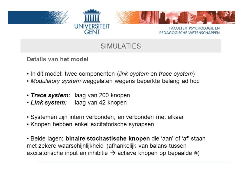 SIMULATIES Details van het model In dit model: twee componenten (link system en trace system) Modulatory system weggelaten wegens beperkte belang ad h