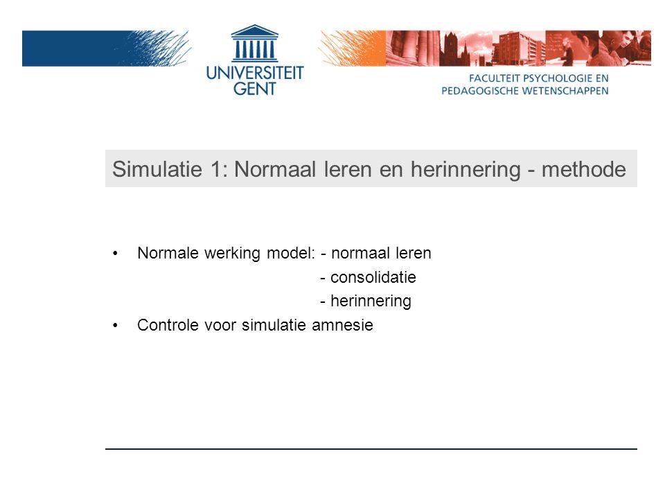 Simulatie 1: Normaal leren en herinnering - methode Normale werking model: - normaal leren - consolidatie - herinnering Controle voor simulatie amnesie