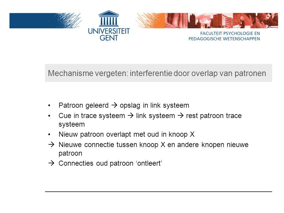 Mechanisme vergeten: interferentie door overlap van patronen Patroon geleerd  opslag in link systeem Cue in trace systeem  link systeem  rest patro