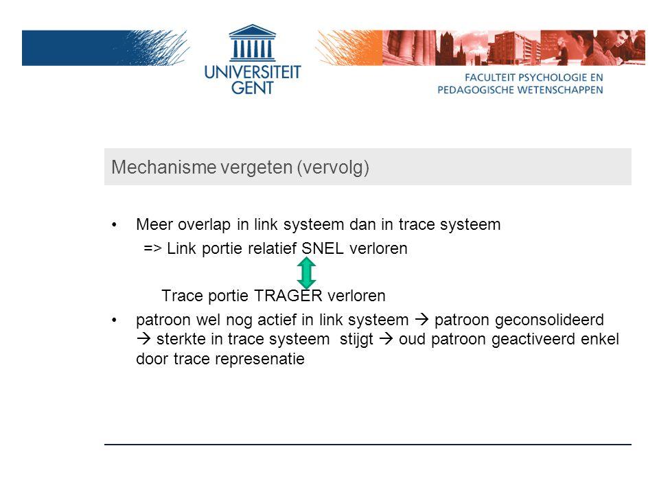 Mechanisme vergeten (vervolg) Meer overlap in link systeem dan in trace systeem => Link portie relatief SNEL verloren Trace portie TRAGER verloren pat