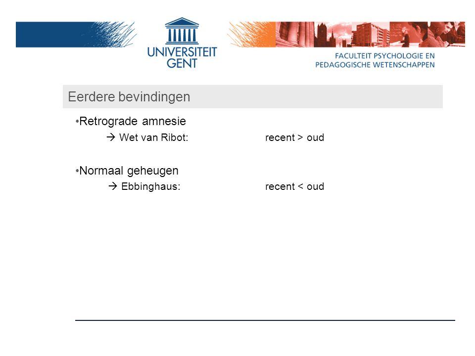 Eerdere bevindingen Retrograde amnesie  Wet van Ribot:recent > oud Normaal geheugen  Ebbinghaus:recent < oud