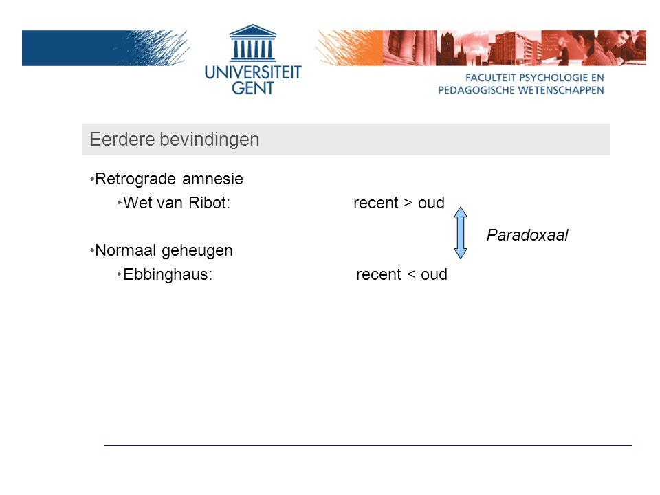 Eerdere bevindingen Retrograde amnesie ‣ Wet van Ribot:recent > oud Normaal geheugen ‣ Ebbinghaus: recent < oud Paradoxaal