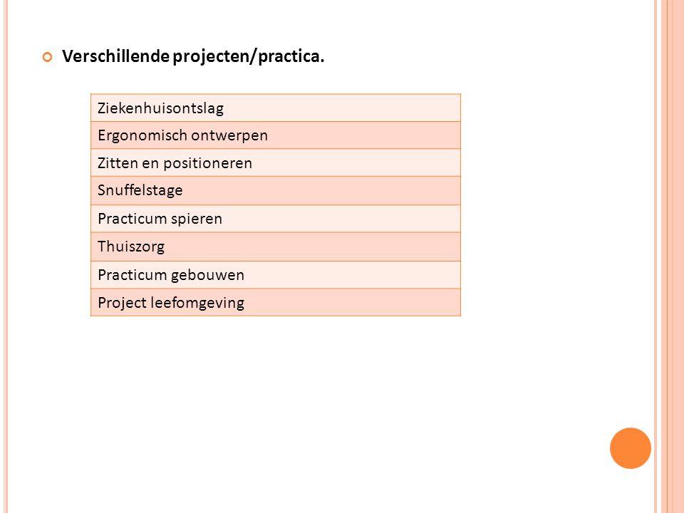 Verschillende projecten/practica. Ziekenhuisontslag Ergonomisch ontwerpen Zitten en positioneren Snuffelstage Practicum spieren Thuiszorg Practicum ge