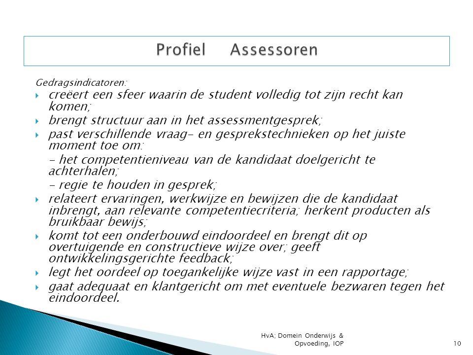 Gedragsindicatoren:  creëert een sfeer waarin de student volledig tot zijn recht kan komen;  brengt structuur aan in het assessmentgesprek;  past v