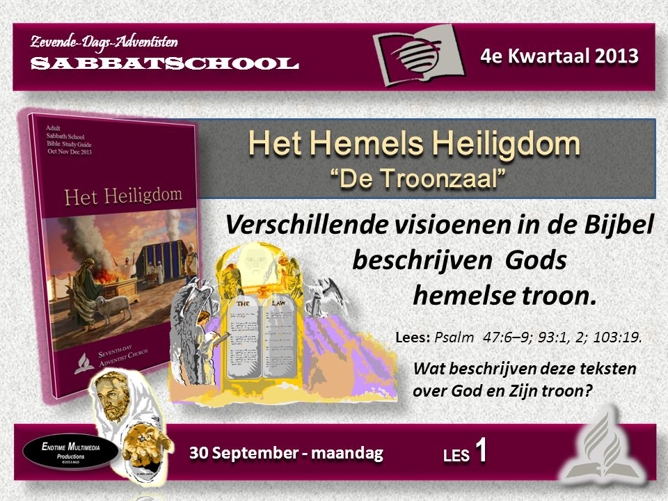 Het Hemels Heiligdom Aanbidding in de hemel Het Hemels Heiligdom Aanbidding in de hemel 1 Oktober - dinsdag LES 1 In Openbaring 4 en 5 kunnen we zien, wat er zich rond Gods troon afspeelt.