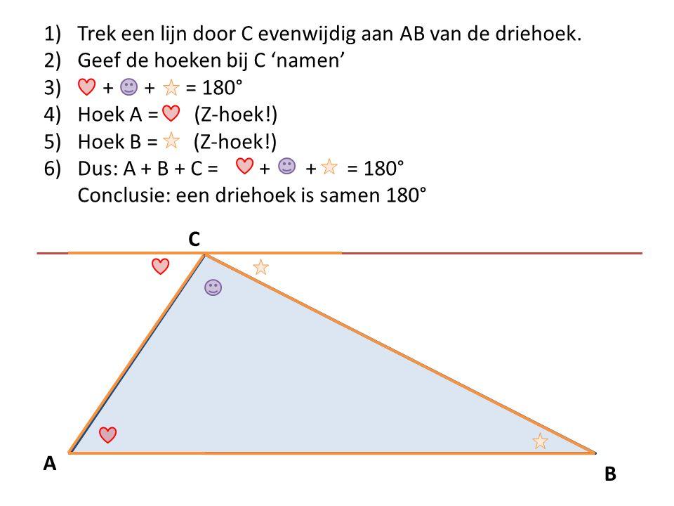 B A C 1)Trek een lijn door C evenwijdig aan AB van de driehoek. 2)Geef de hoeken bij C 'namen' 3) + + = 180° 4)Hoek A = (Z-hoek!) 5)Hoek B = (Z-hoek!)
