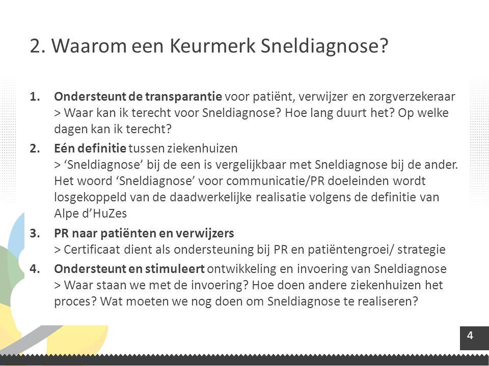 15 Het Keurmerk wordt uitgereikt met het idee dat een patiënt weet hoe snel hij terecht kan en een diagnose mag verwachten.