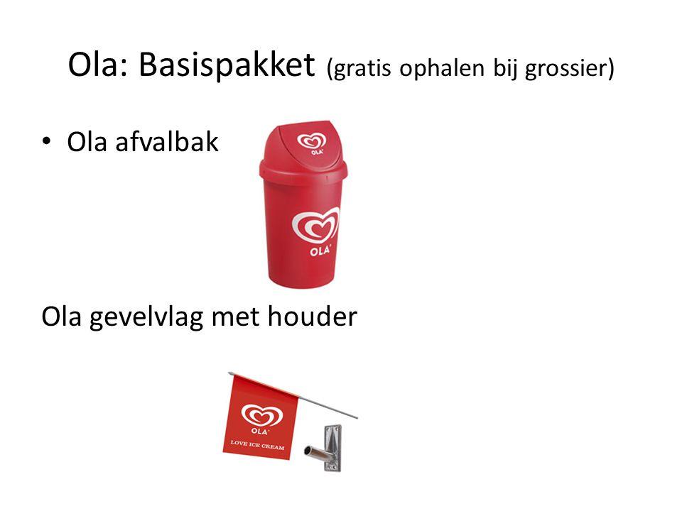 Ola: Basispakket (gratis ophalen bij grossier) Ola afvalbak Ola gevelvlag met houder