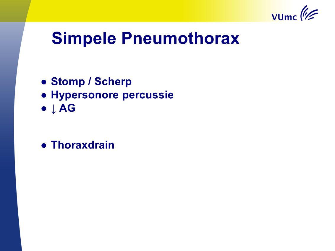 Simpele Pneumothorax ● Stomp / Scherp ● Hypersonore percussie ●↓ AG ● Thoraxdrain