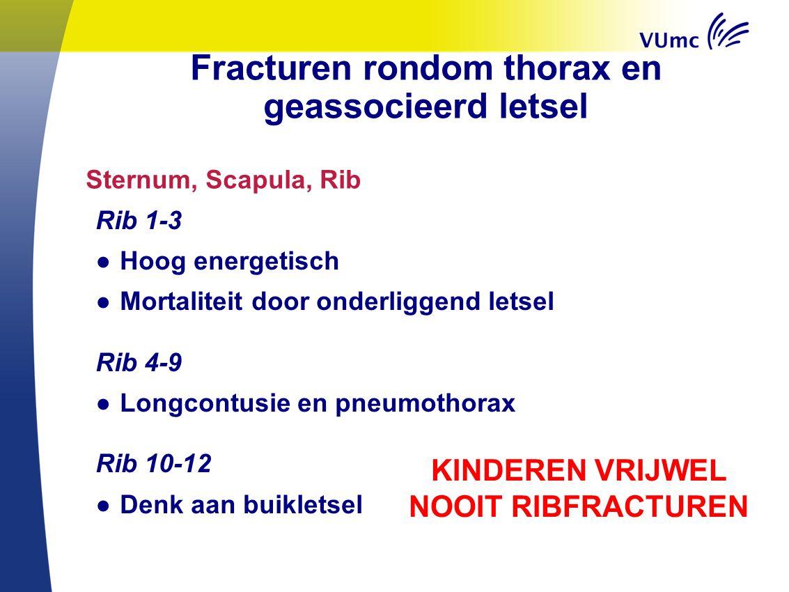 Fracturen rondom thorax en geassocieerd letsel Rib 1-3 ● Hoog energetisch ● Mortaliteit door onderliggend letsel Rib 4-9 ● Longcontusie en pneumothora