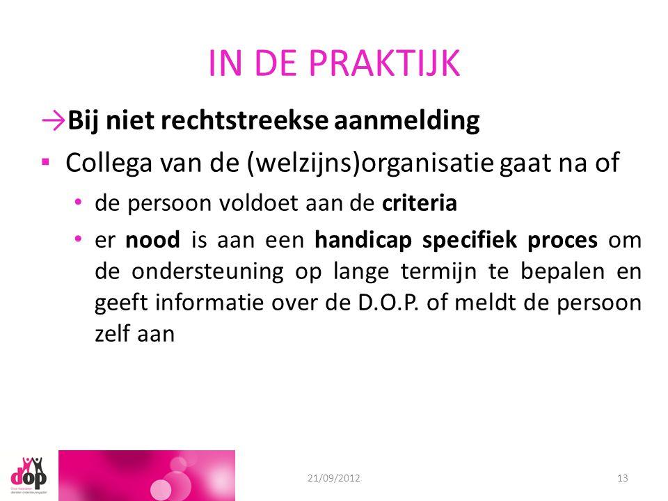 IN DE PRAKTIJK 18/06/201221/09/201213 →Bij niet rechtstreekse aanmelding ▪Collega van de (welzijns)organisatie gaat na of de persoon voldoet aan de cr