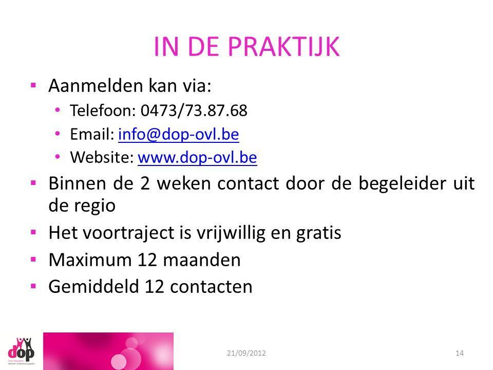 IN DE PRAKTIJK ▪Aanmelden kan via: Telefoon: 0473/73.87.68 Email: info@dop-ovl.beinfo@dop-ovl.be Website: www.dop-ovl.bewww.dop-ovl.be ▪Binnen de 2 weken contact door de begeleider uit de regio ▪Het voortraject is vrijwillig en gratis ▪Maximum 12 maanden ▪Gemiddeld 12 contacten 18/06/201221/09/201214