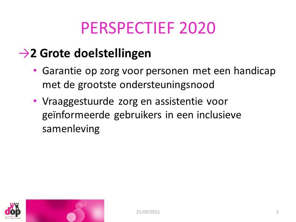 PERSPECTIEF 2020 →2 Grote doelstellingen Garantie op zorg voor personen met een handicap met de grootste ondersteuningsnood Vraaggestuurde zorg en assistentie voor geïnformeerde gebruikers in een inclusieve samenleving 18/06/201221/09/20123