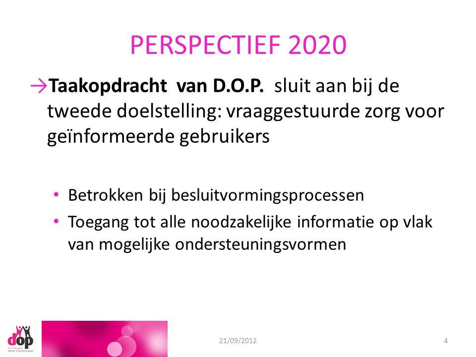 PERSPECTIEF 2020 →Taakopdracht van D.O.P. sluit aan bij de tweede doelstelling: vraaggestuurde zorg voor geïnformeerde gebruikers Betrokken bij beslui