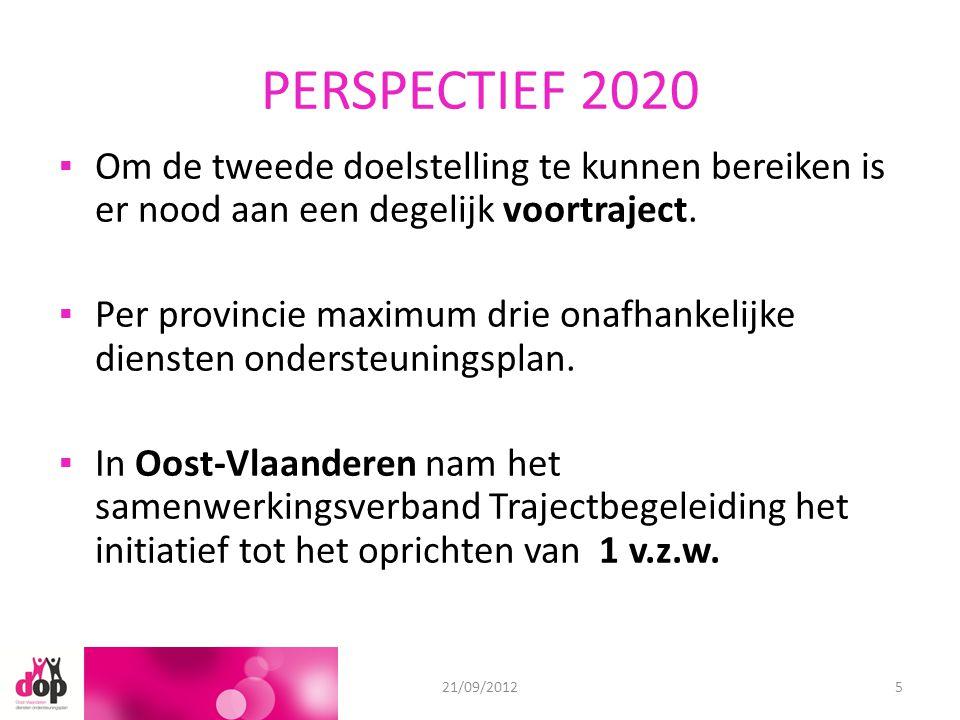 PERSPECTIEF 2020 ▪Om de tweede doelstelling te kunnen bereiken is er nood aan een degelijk voortraject. ▪Per provincie maximum drie onafhankelijke die