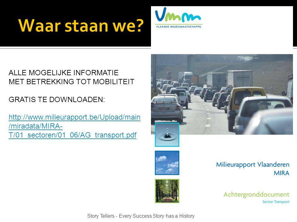 ALLE MOGELIJKE INFORMATIE MET BETREKKING TOT MOBILITEIT GRATIS TE DOWNLOADEN: http://www.milieurapport.be/Upload/main /miradata/MIRA- T/01_sectoren/01_06/AG_transport.pdf