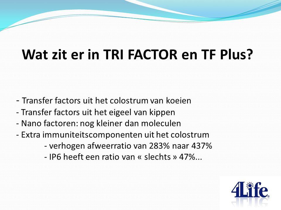 Wat zit er in TRI FACTOR en TF Plus.
