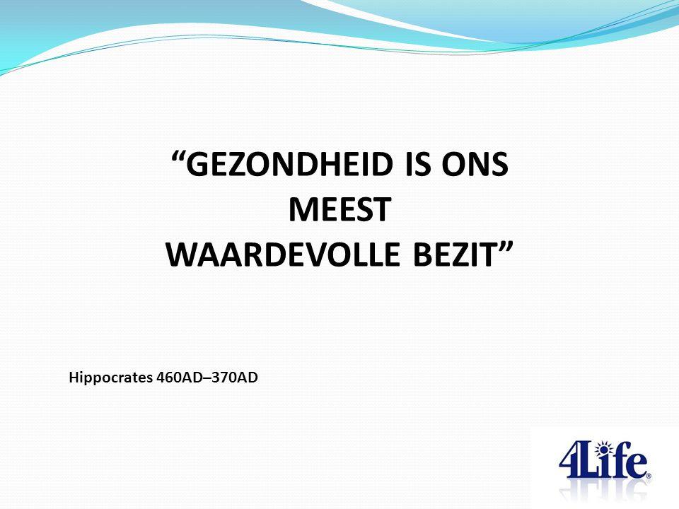 GEZONDHEID IS ONS MEEST WAARDEVOLLE BEZIT Hippocrates 460AD–370AD