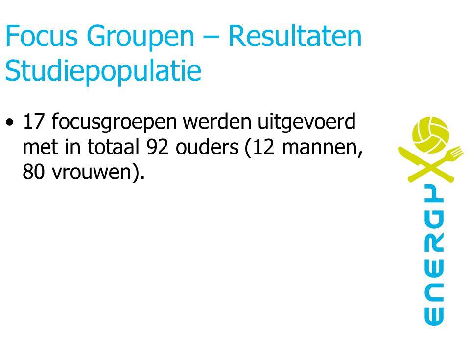 Focus Groupen – Resultaten Studiepopulatie 17 focusgroepen werden uitgevoerd met in totaal 92 ouders (12 mannen, 80 vrouwen).