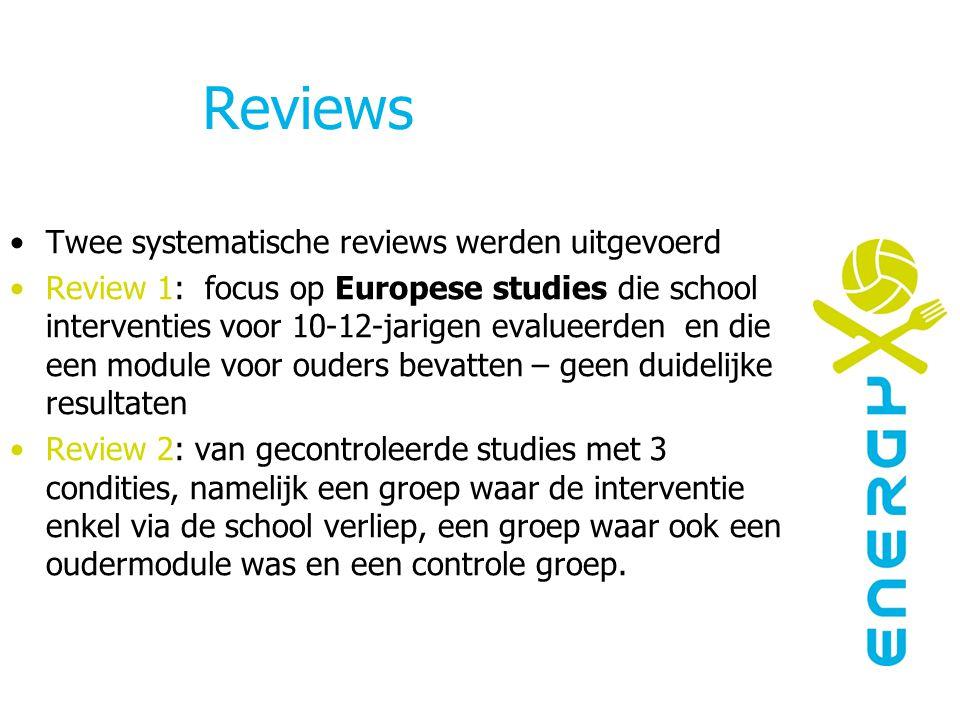 Reviews Twee systematische reviews werden uitgevoerd Review 1: focus op Europese studies die school interventies voor 10-12-jarigen evalueerden en die