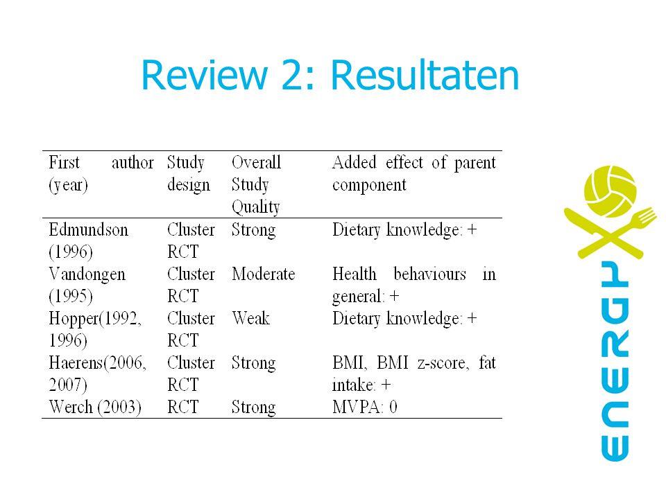 Review 2: Conclusies aanwijzingen dat meerdere strategieen tot meer resultaat leidt geen definitieve conclusies mogelijk Meer studies nodig