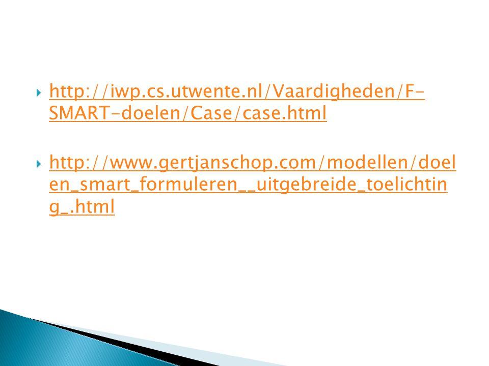  http://iwp.cs.utwente.nl/Vaardigheden/F- SMART-doelen/Case/case.html http://iwp.cs.utwente.nl/Vaardigheden/F- SMART-doelen/Case/case.html  http://w