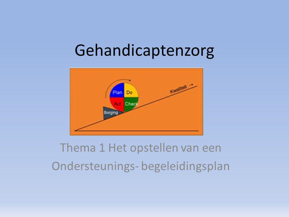 Gehandicaptenzorg Thema 1 Het opstellen van een Ondersteunings- begeleidingsplan