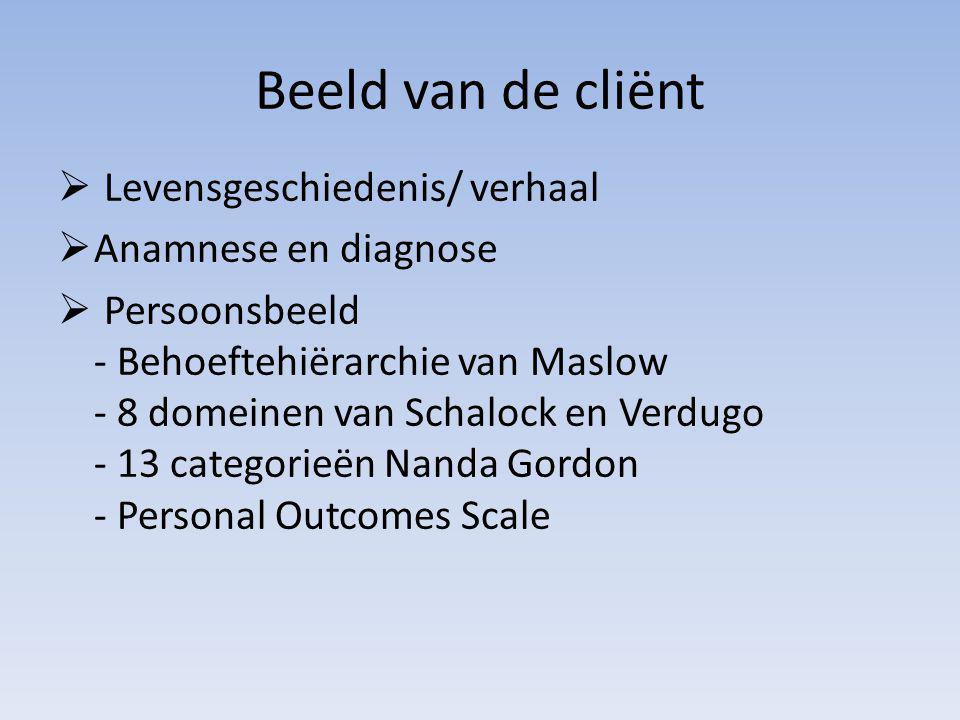 Beeld van de cliënt  Levensgeschiedenis/ verhaal  Anamnese en diagnose  Persoonsbeeld - Behoeftehiërarchie van Maslow - 8 domeinen van Schalock en Verdugo - 13 categorieën Nanda Gordon - Personal Outcomes Scale