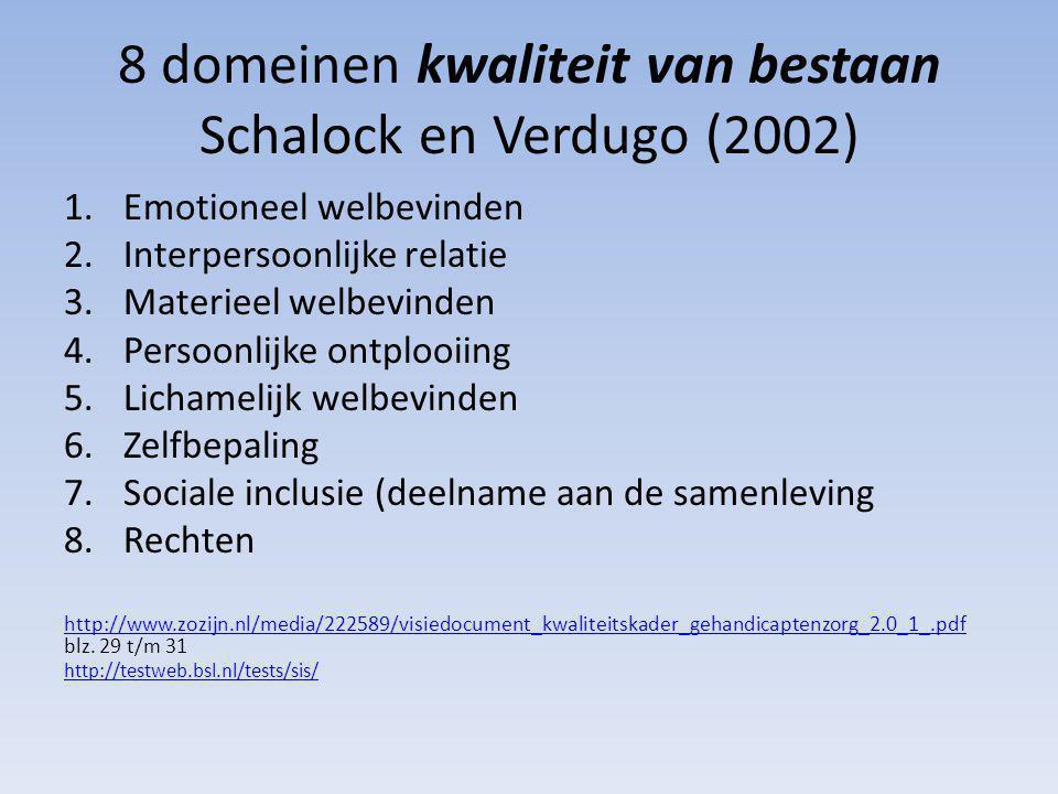8 domeinen kwaliteit van bestaan Schalock en Verdugo (2002) 1.Emotioneel welbevinden 2.Interpersoonlijke relatie 3.Materieel welbevinden 4.Persoonlijke ontplooiing 5.Lichamelijk welbevinden 6.Zelfbepaling 7.Sociale inclusie (deelname aan de samenleving 8.Rechten http://www.zozijn.nl/media/222589/visiedocument_kwaliteitskader_gehandicaptenzorg_2.0_1_.pdf http://www.zozijn.nl/media/222589/visiedocument_kwaliteitskader_gehandicaptenzorg_2.0_1_.pdf blz.