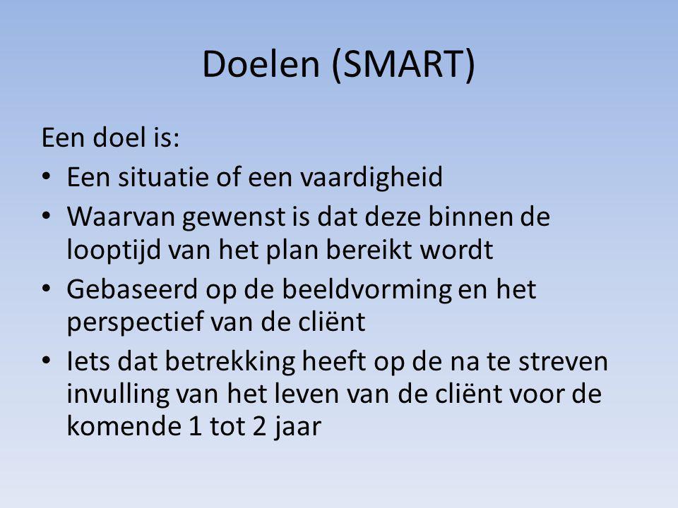Doelen (SMART) Een doel is: Een situatie of een vaardigheid Waarvan gewenst is dat deze binnen de looptijd van het plan bereikt wordt Gebaseerd op de